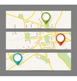 Set of banners with map and color pin pointer vector