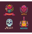 Mexico music skull and food elements vector