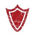 Red grunge shield logo vector
