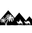 The man on the camel the pyramids vector