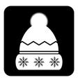 Winter hat symbol button vector