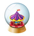 A crystal ball with a kiddie ride inside vector
