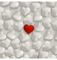 Seamless romantic white and red hearts valentines vector