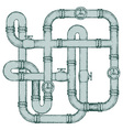 Maze of metal pipes vector