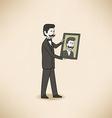 Bilionaire with his portrait vector