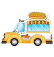 A vehicle selling buns and hotdogs vector