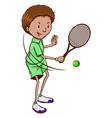 A boy playing tennis vector