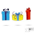 Sketch of three gift boxes with bows isolated on vector