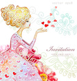 Watercolor greeting card with beautiful girl for vector