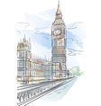 Drawing color big ben of tower in london uk vector