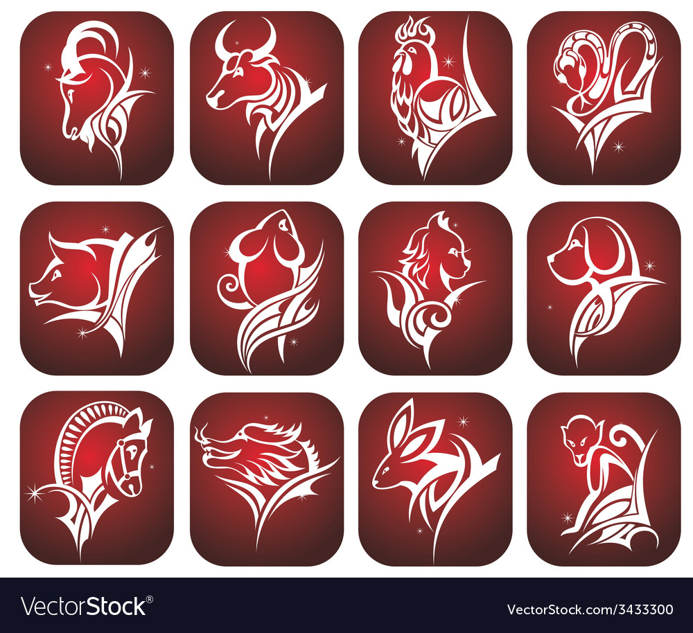 Chinese zodiac signs vector | Price: 1 Credit (USD $1)