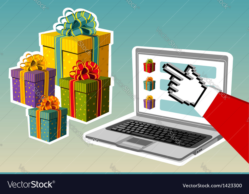 Christmas background santa buying online vector | Price: 1 Credit (USD $1)