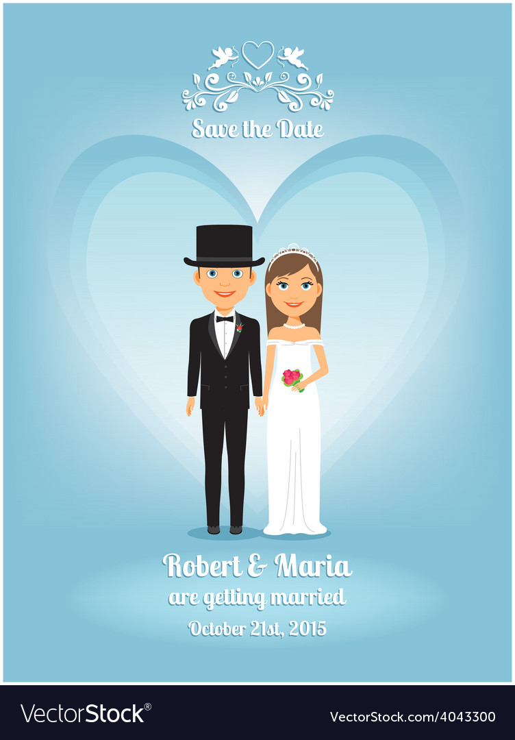 Cute cartoon bride and groom on wedding invitation vector | Price: 1 Credit (USD $1)