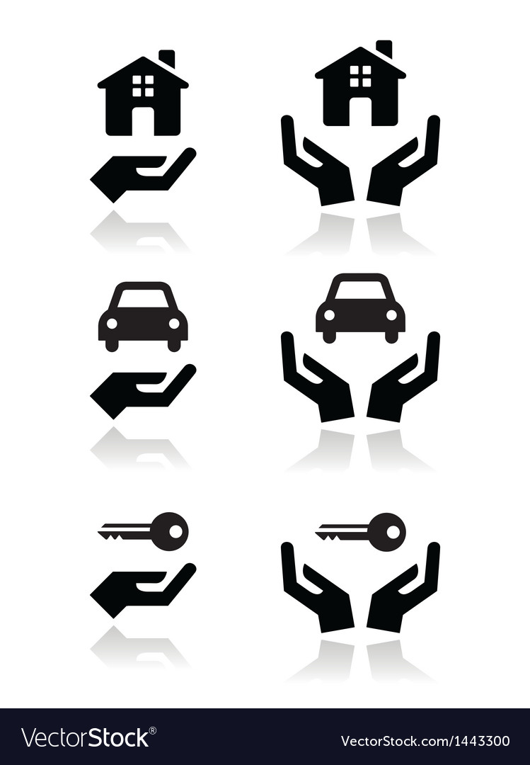 Hands house car icons vector | Price: 1 Credit (USD $1)