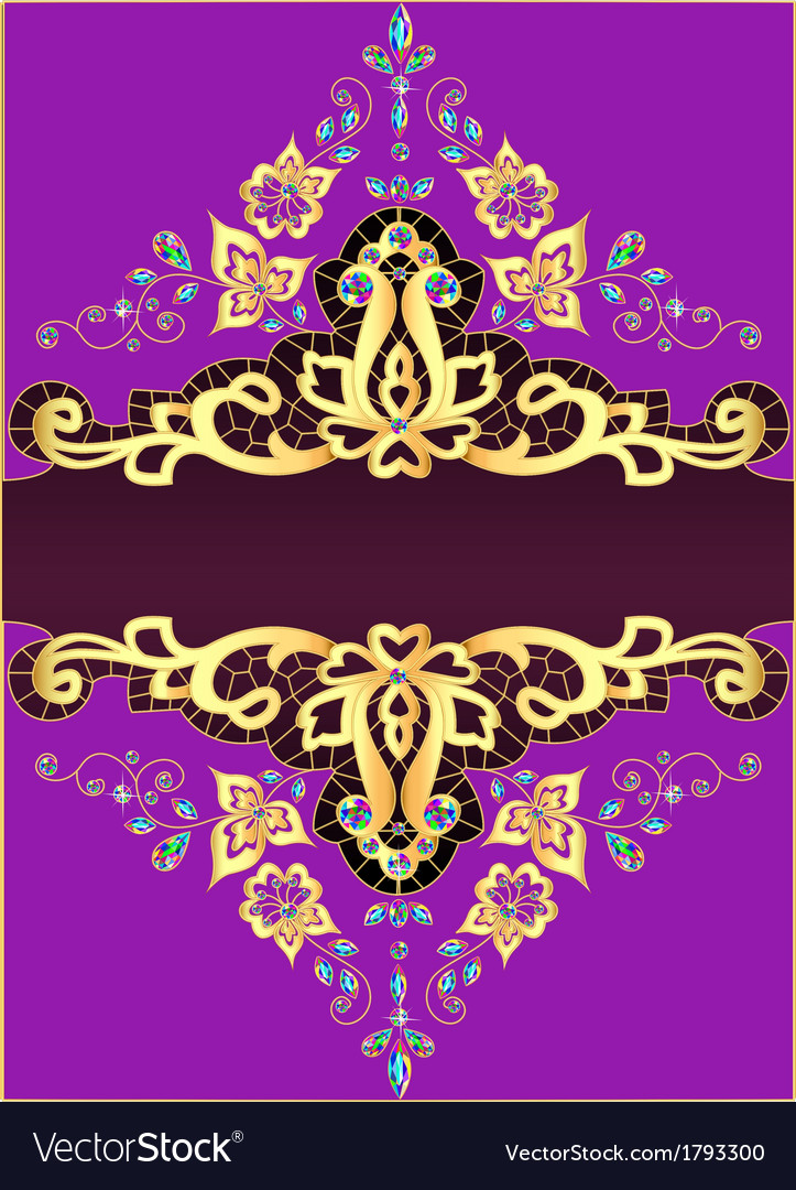 Lilac background with gold ornament vector | Price: 1 Credit (USD $1)