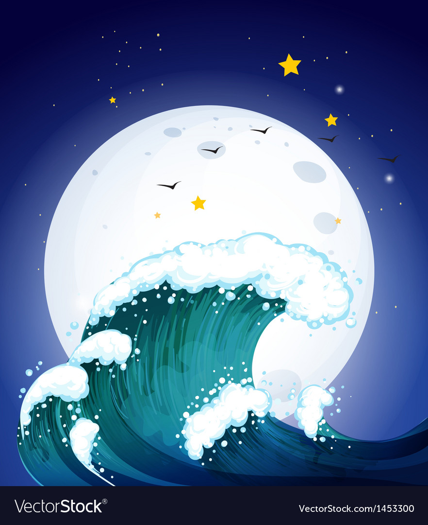 The moon and the waves vector   Price: 1 Credit (USD $1)