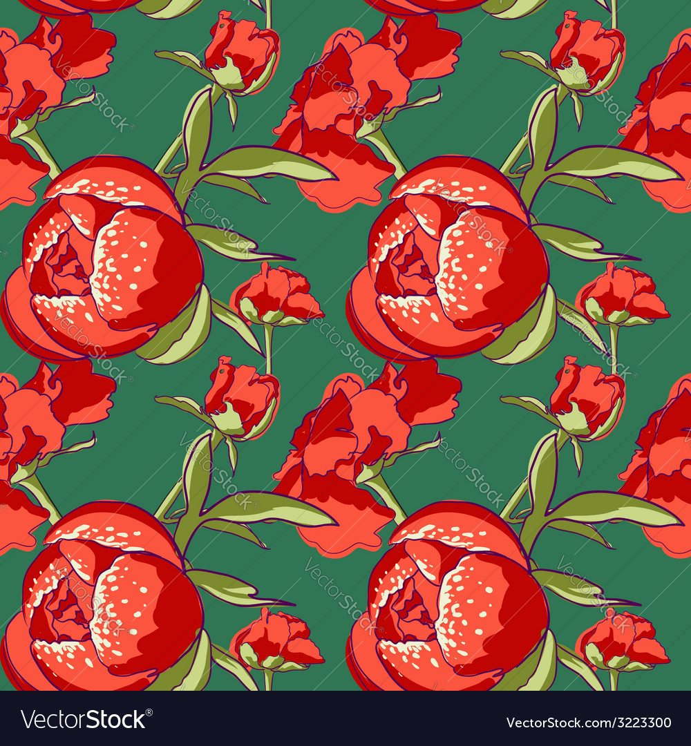 Seamless floral background with peonies vector | Price: 1 Credit (USD $1)