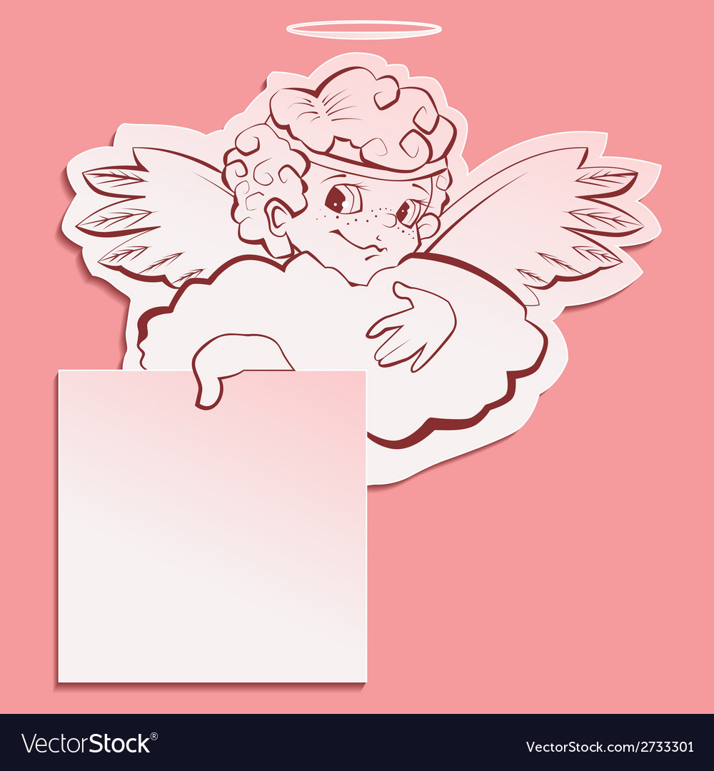 Angel holding a sheet of paper vector | Price: 1 Credit (USD $1)