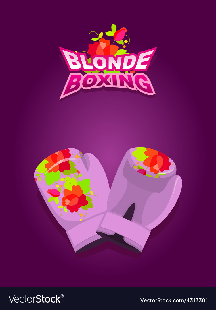 Blonde boxing logo for comic female boxing pink vector | Price: 1 Credit (USD $1)