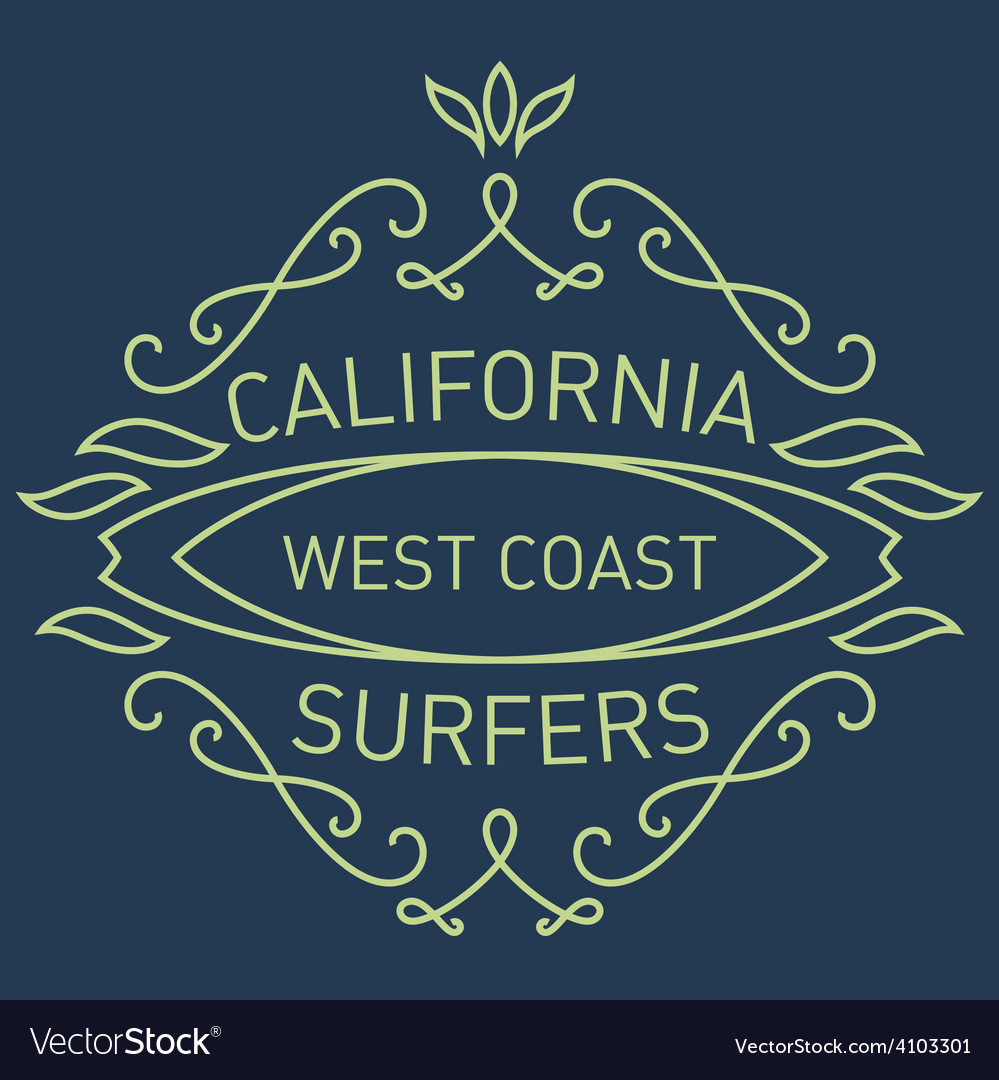 California west coast surfers monograms style vector | Price: 1 Credit (USD $1)