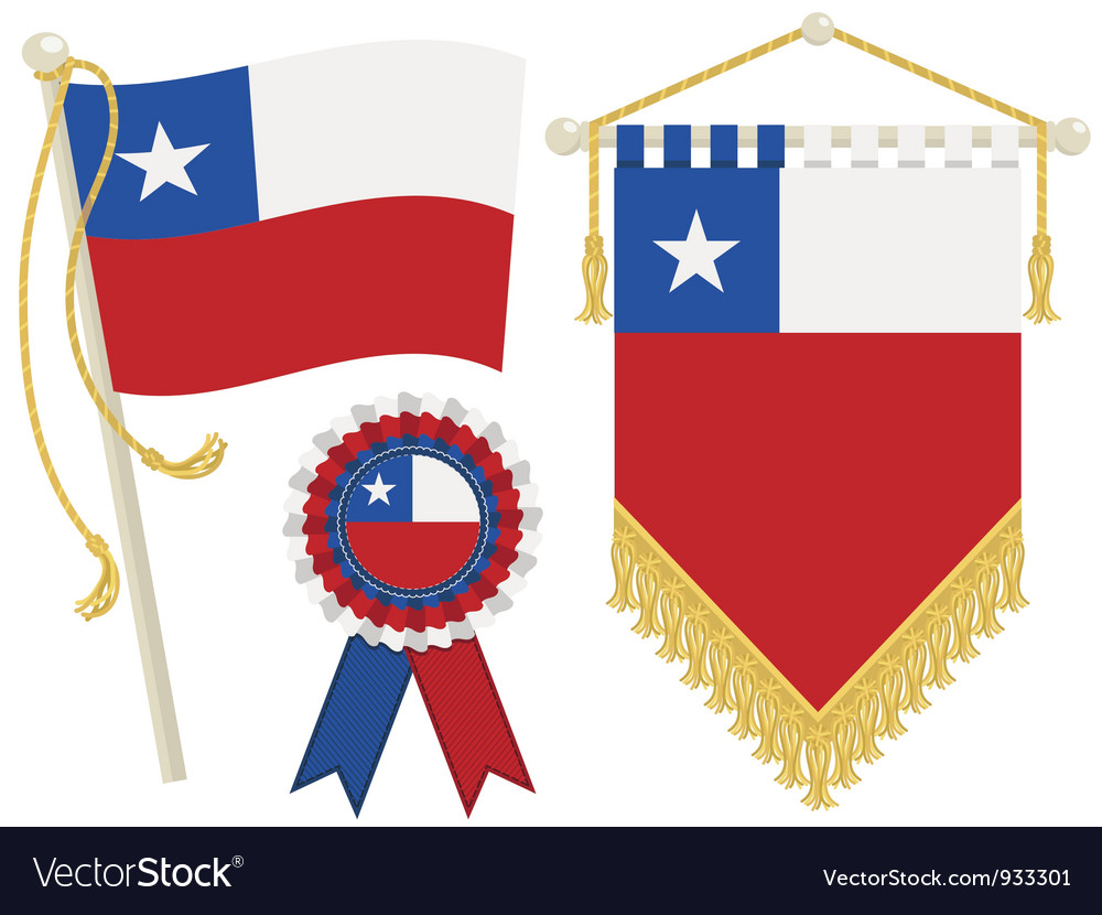 Chile flags vector | Price: 1 Credit (USD $1)