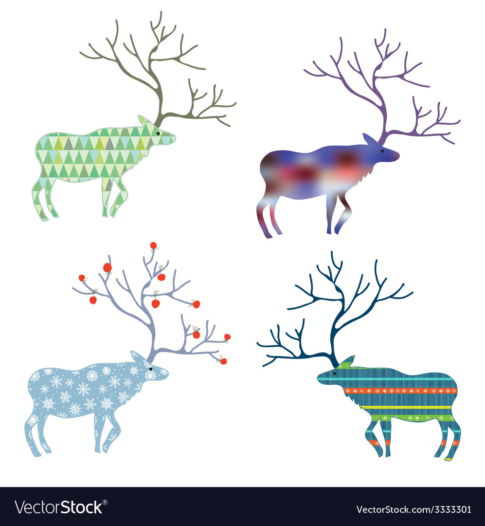 Deers with different pattern set for christmas vector | Price: 1 Credit (USD $1)