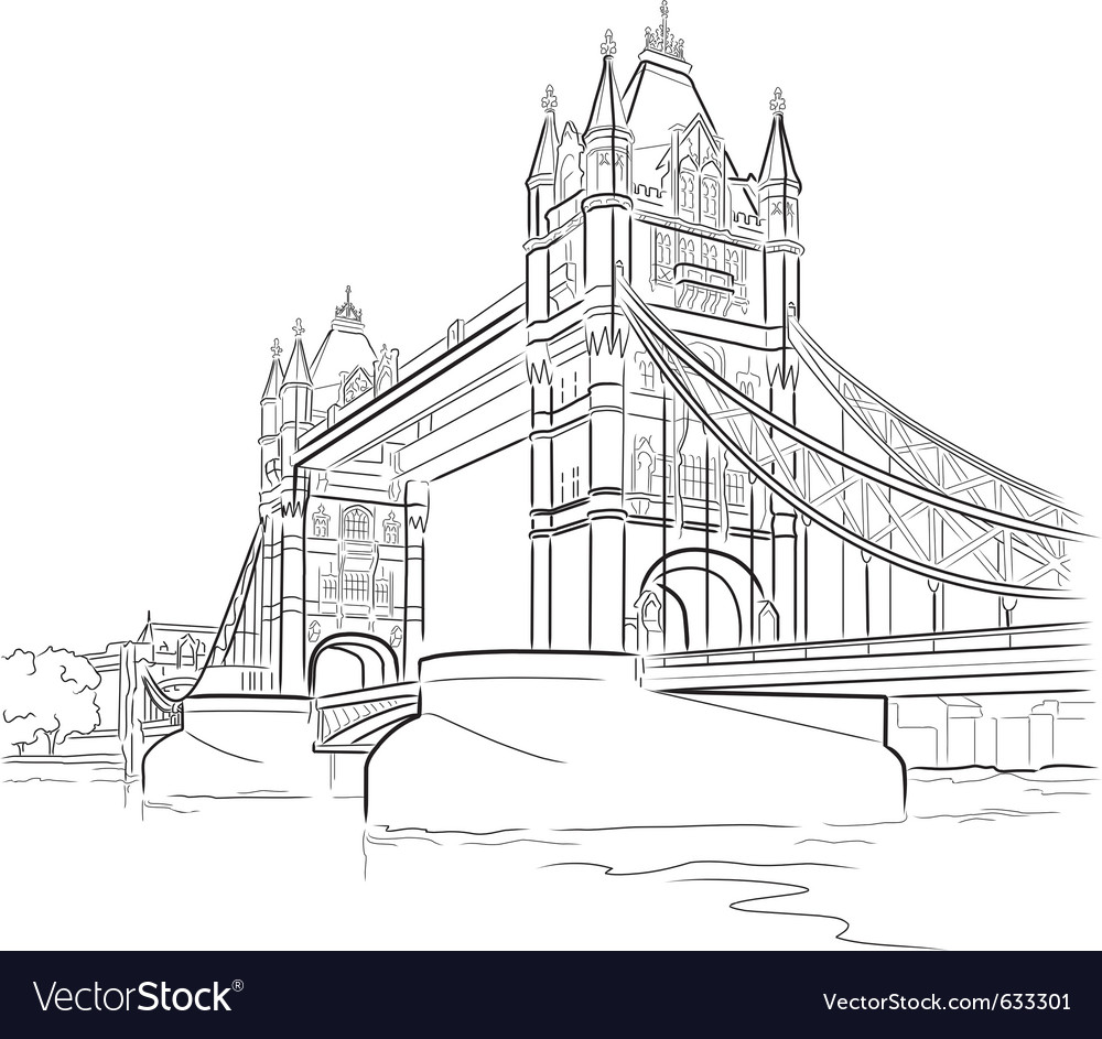 Drawing tower bridge in london uk vector | Price: 1 Credit (USD $1)