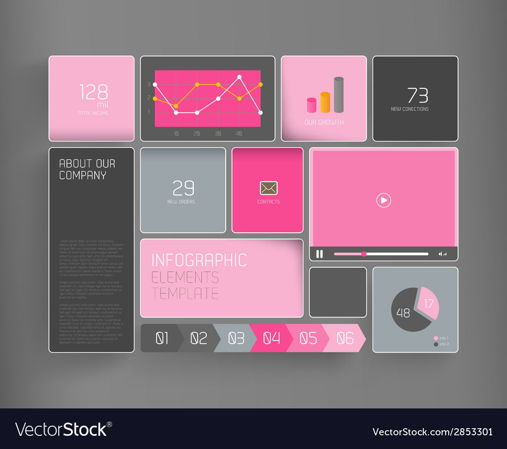 Flat design template with icons and symbols on vector | Price: 1 Credit (USD $1)