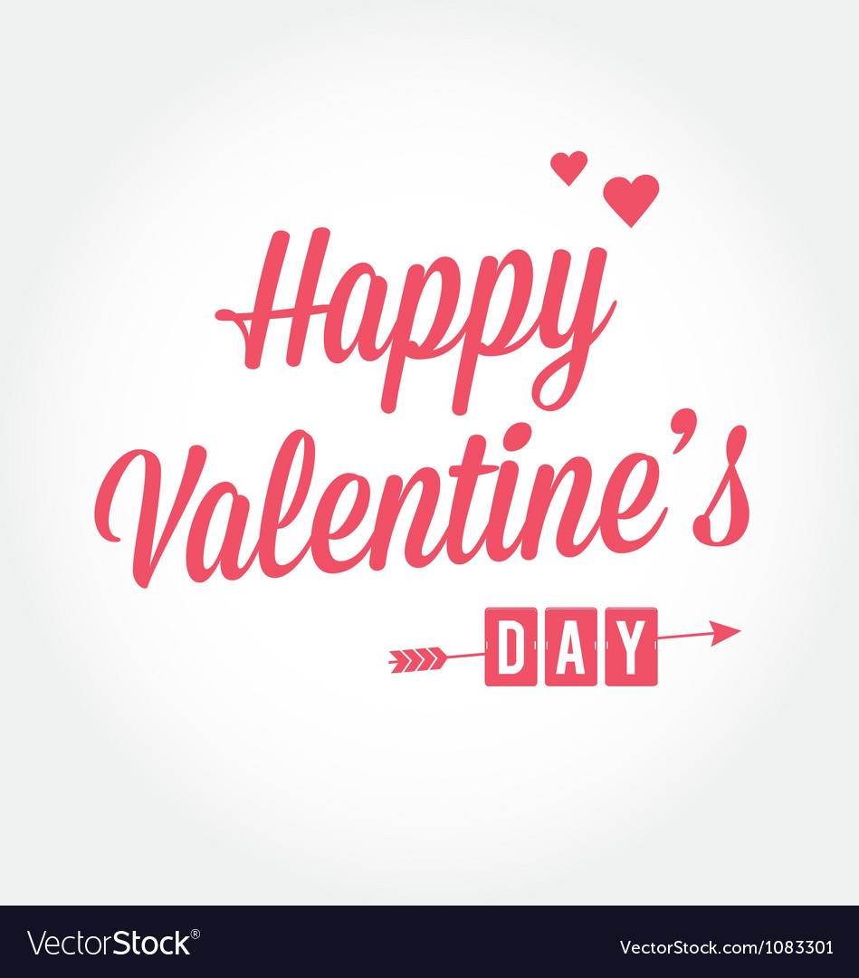 Happy valentines day card type text vector | Price: 1 Credit (USD $1)
