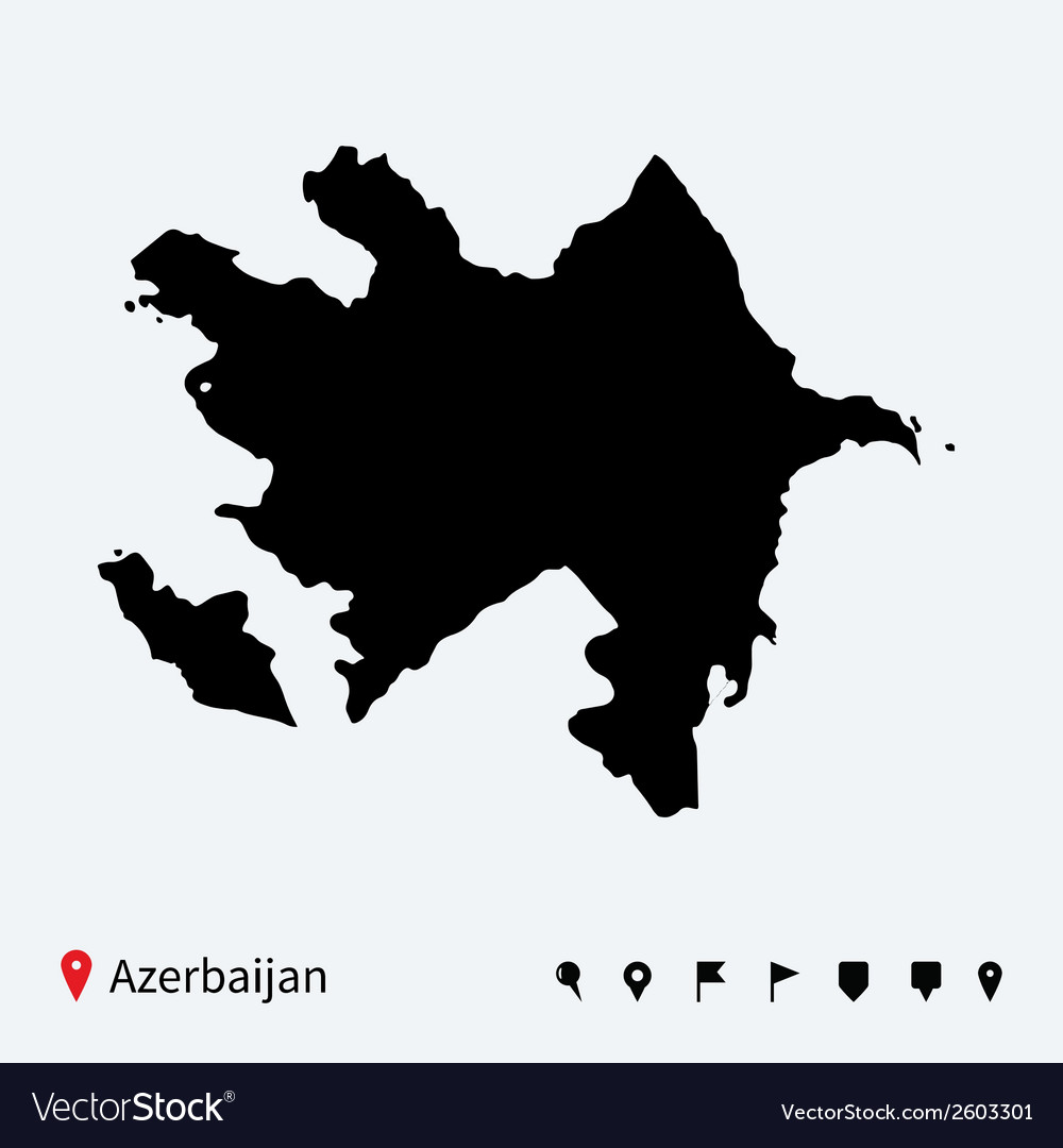 High detailed map of azerbaijan with navigation vector | Price: 1 Credit (USD $1)