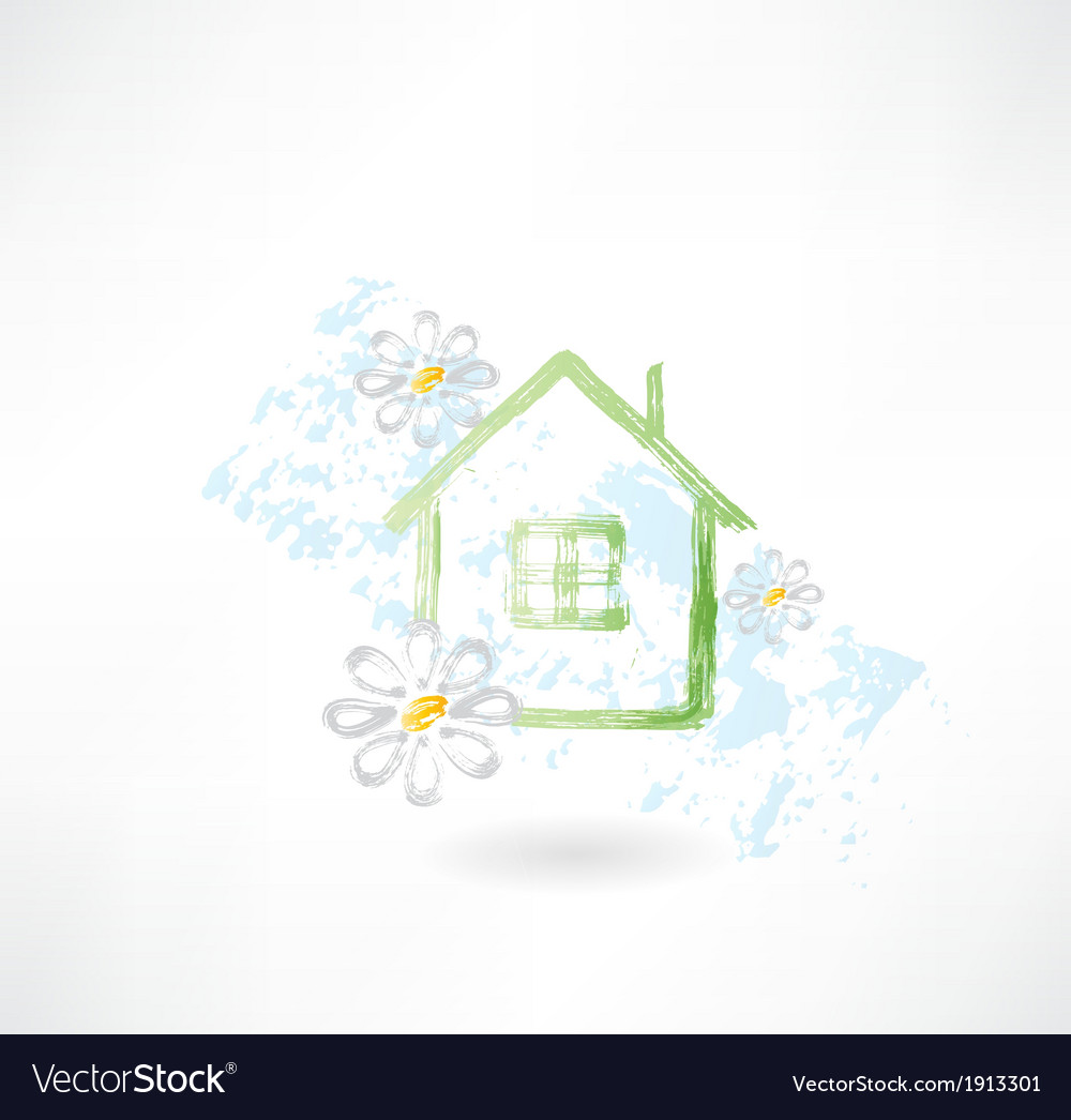 House and flower grunge icon vector | Price: 1 Credit (USD $1)