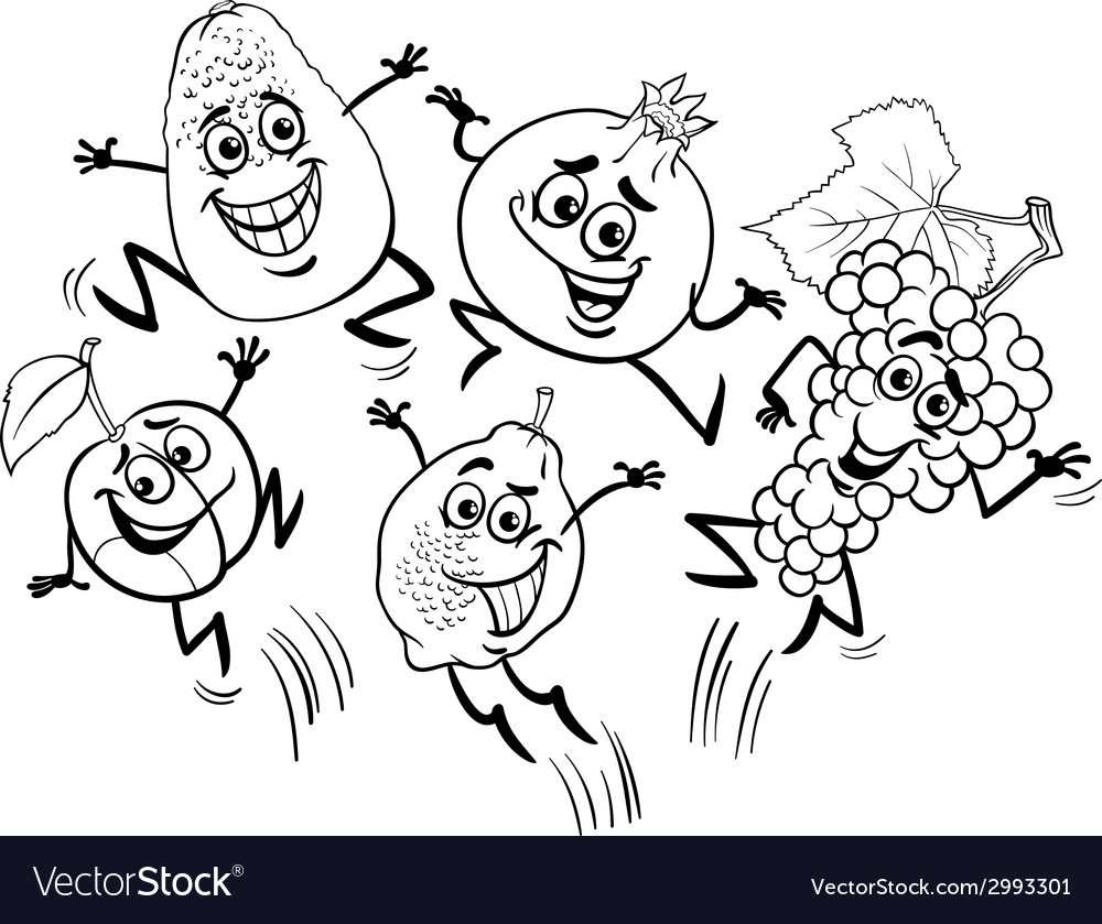 Jumping fruits cartoon coloring book vector | Price: 1 Credit (USD $1)
