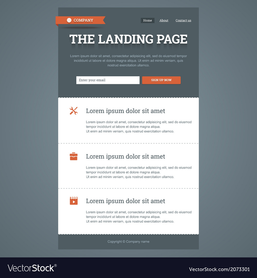 Landing page in flat style vector | Price: 1 Credit (USD $1)