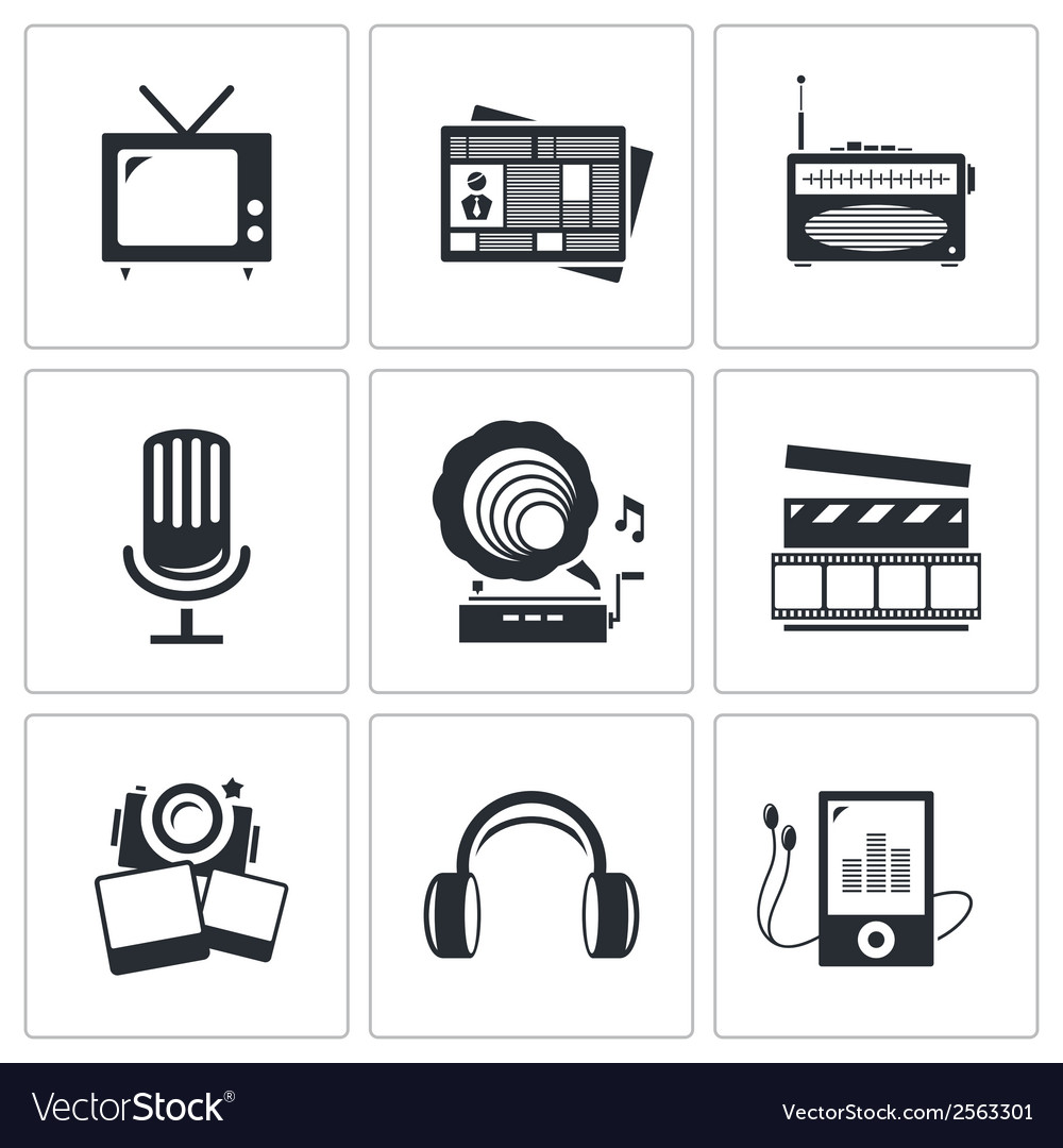 Media icons set - video news music tv recording vector | Price: 1 Credit (USD $1)