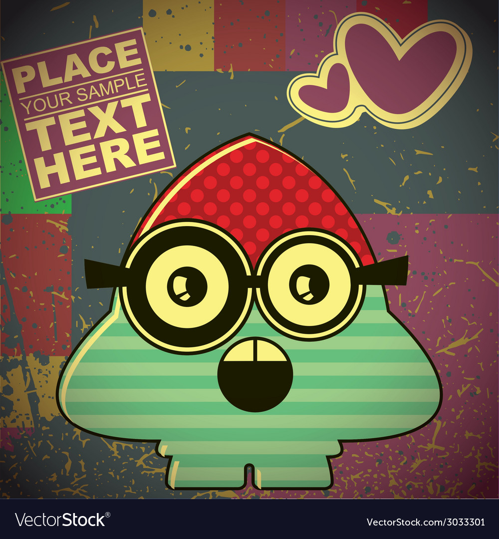 Monster on retro background vector   Price: 1 Credit (USD $1)