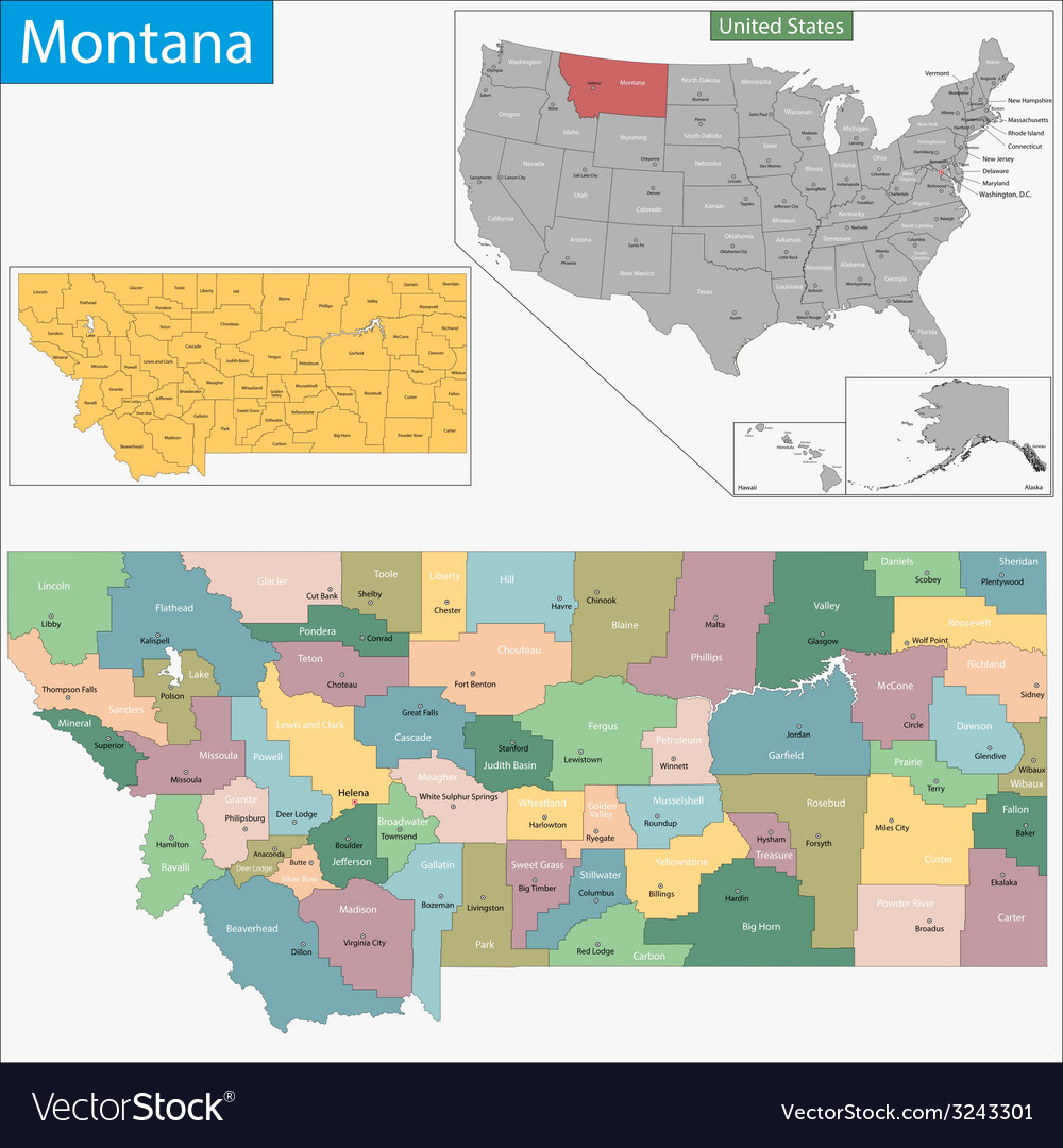 Montana map vector | Price: 1 Credit (USD $1)