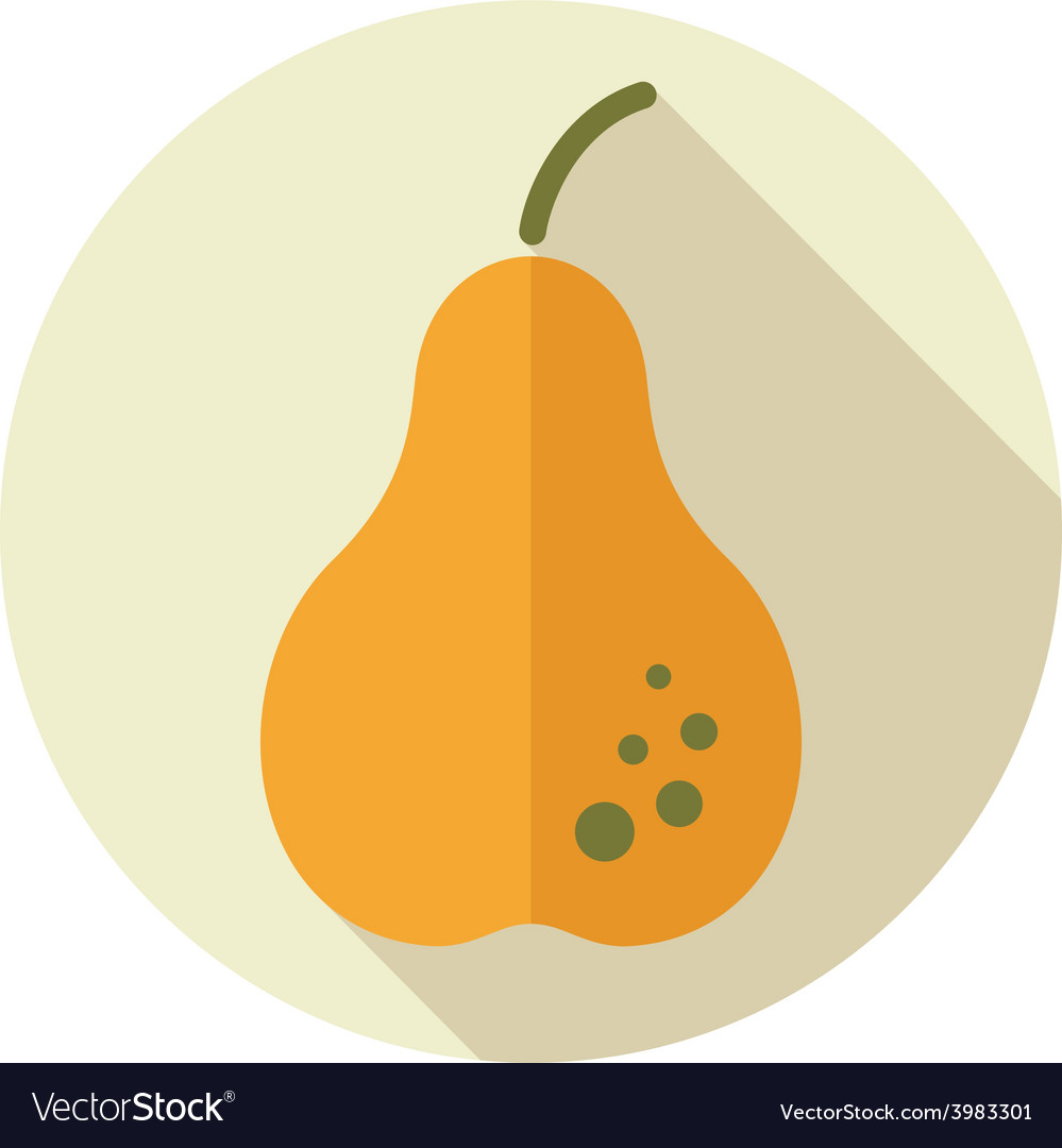 Pear flat icon with long shadow vector | Price: 1 Credit (USD $1)