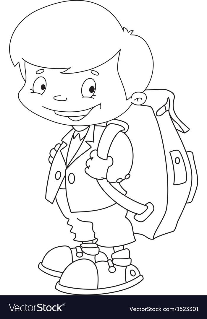 Schoolboy set outlined vector | Price: 1 Credit (USD $1)