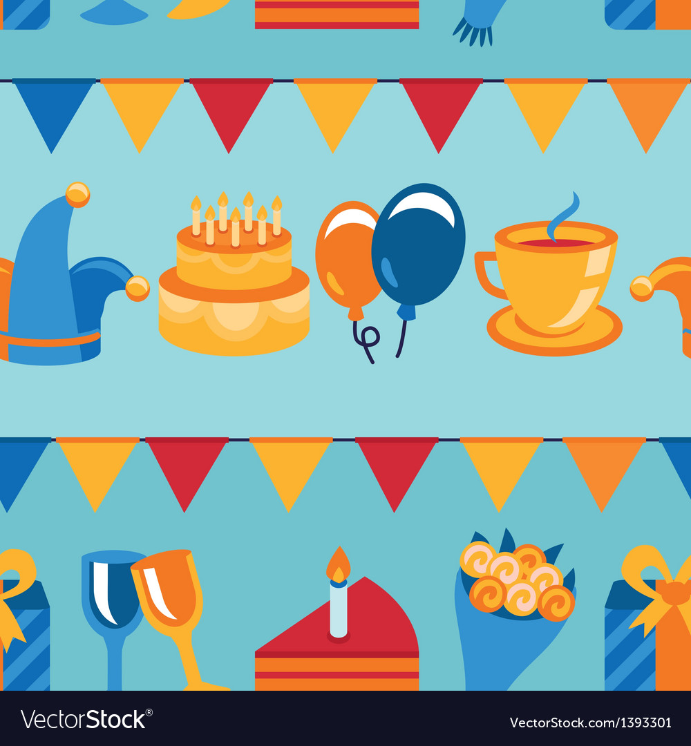 Seamless pattern with party icons and signs vector | Price: 1 Credit (USD $1)
