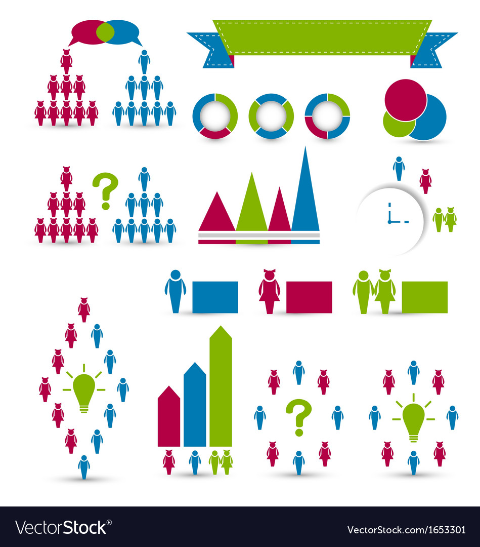 Set human infographic design elements vector | Price: 1 Credit (USD $1)