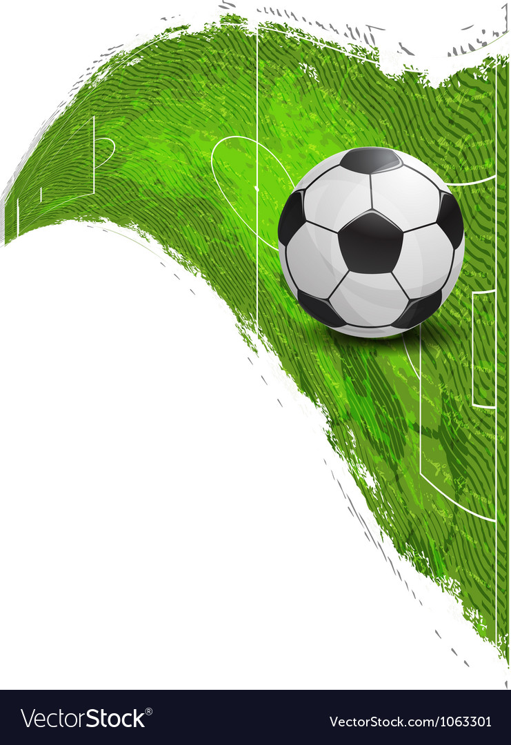 Soccer ball on the football field vector | Price: 1 Credit (USD $1)