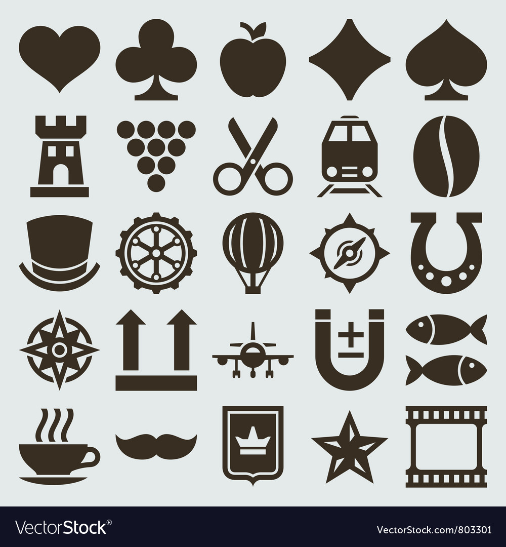 Vintage retro icons set vector | Price: 1 Credit (USD $1)