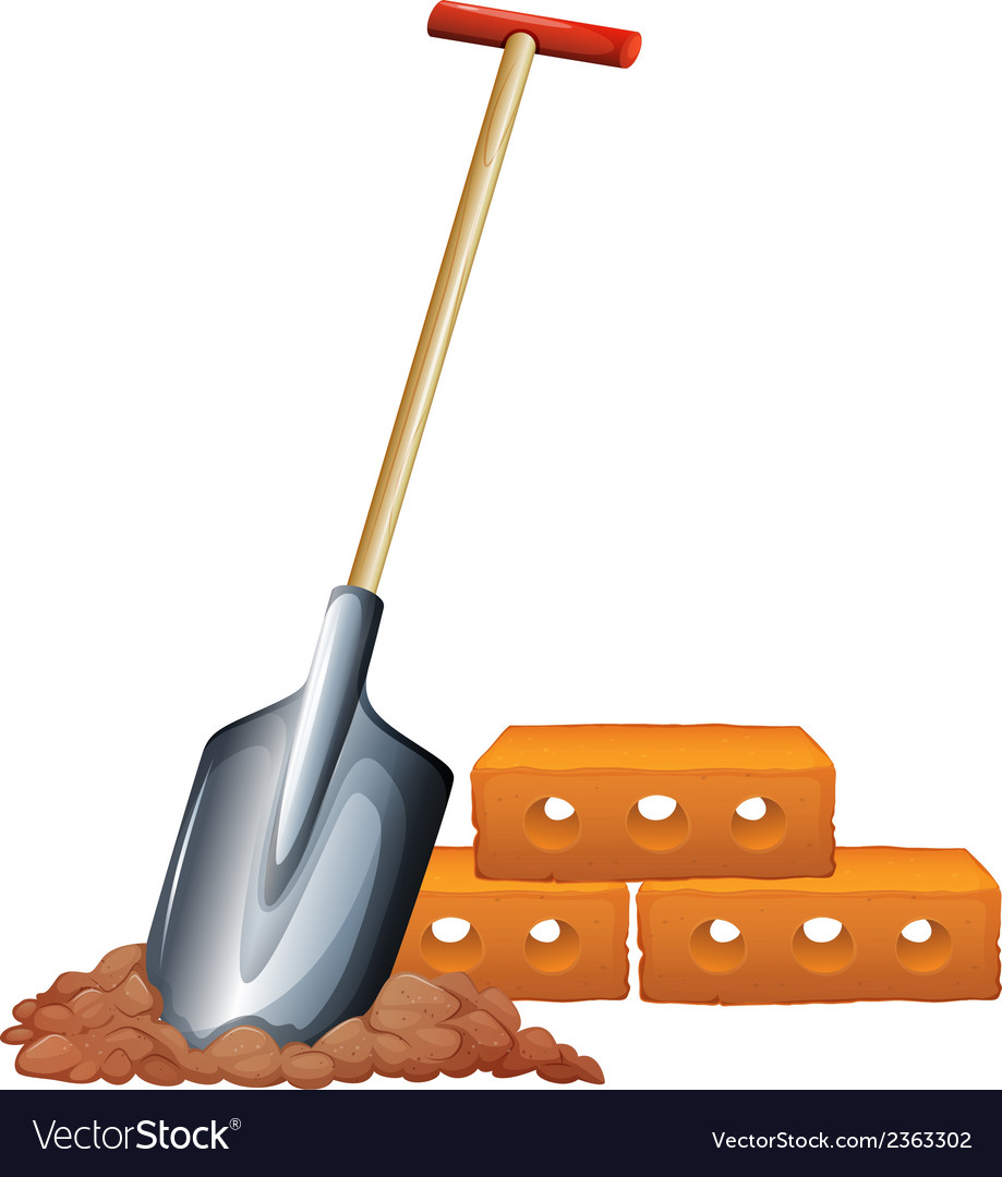A shovel and bricks vector | Price: 1 Credit (USD $1)