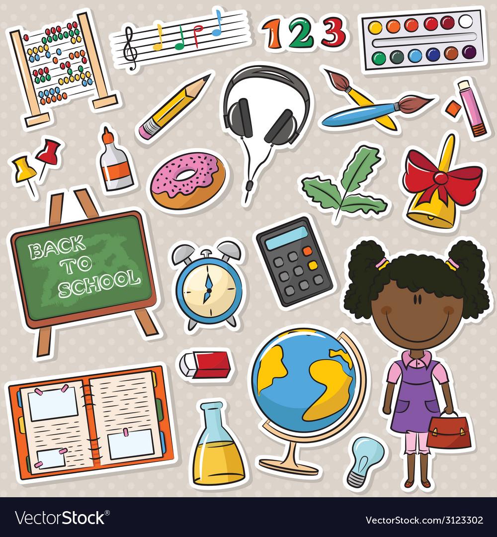 African-american school girls vector | Price: 1 Credit (USD $1)