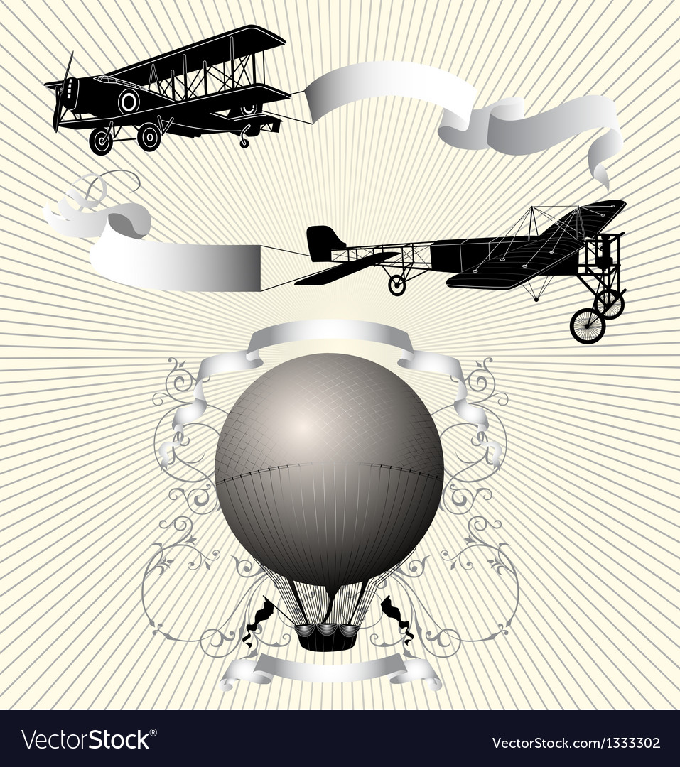 Airplane with ribbon vector | Price: 1 Credit (USD $1)
