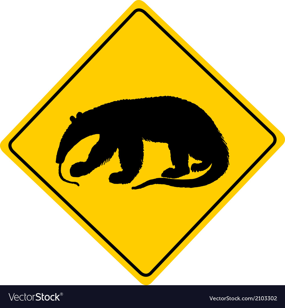 Anteater warning sign vector | Price: 1 Credit (USD $1)