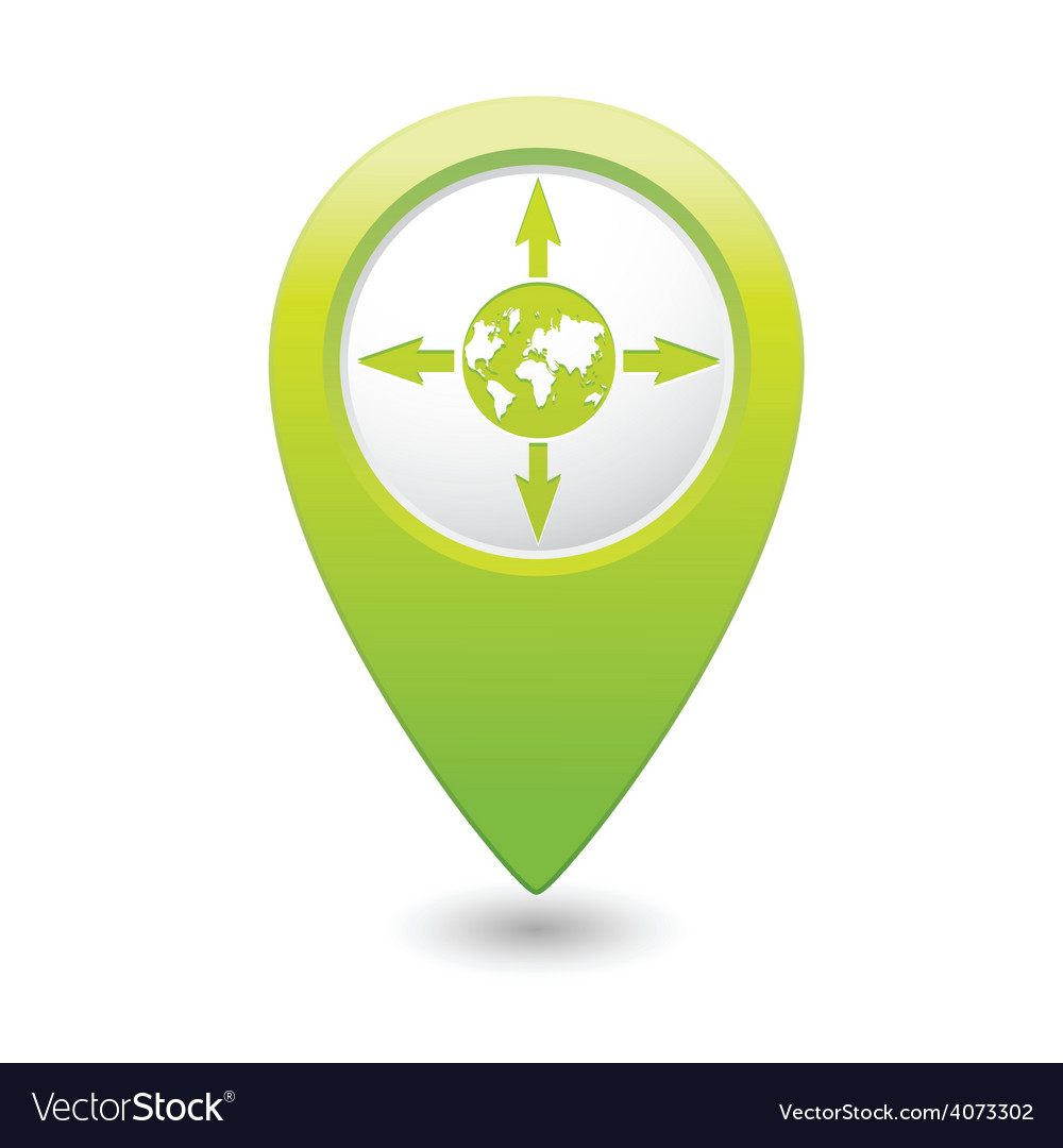 Arrowsandglobe green map pointer vector | Price: 1 Credit (USD $1)