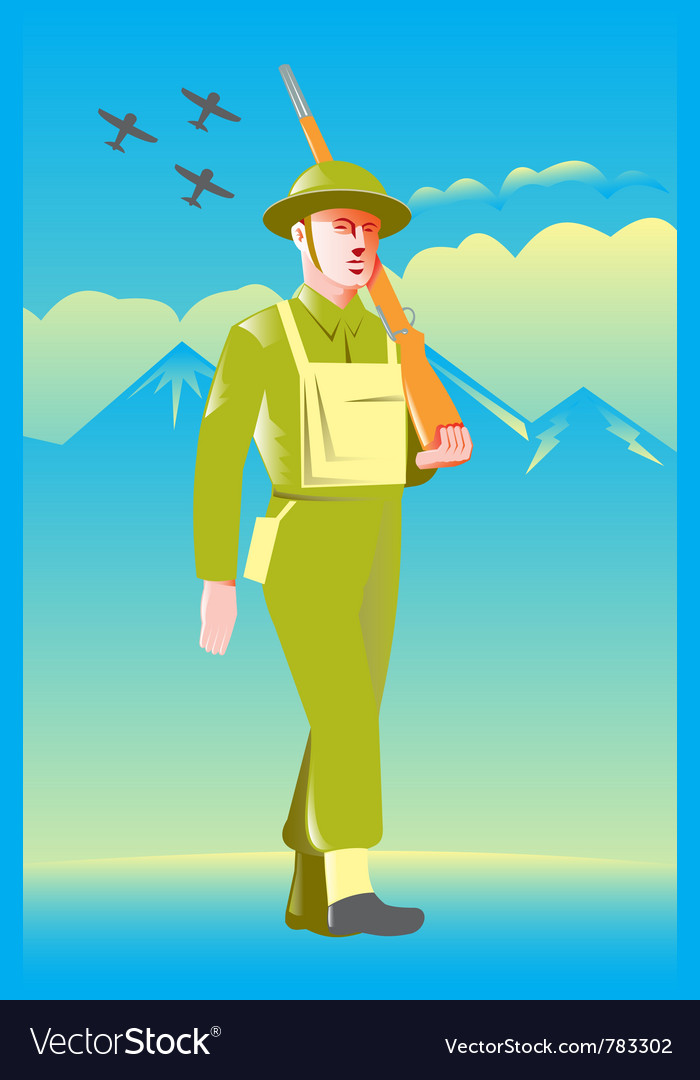British world war soldier vector | Price: 1 Credit (USD $1)