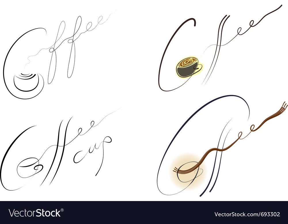 Coffee handwritten sign set vector | Price: 1 Credit (USD $1)