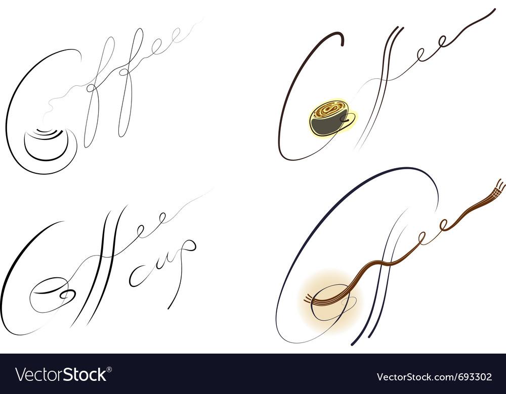 Coffee handwritten sign set vector | Price: 1 Credit (USD $1)